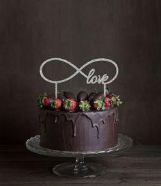 Glitter Infinity Love Wedding Cake Topper 6 Silver Cake