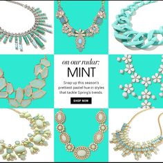 Mint BaubleBar. Basic grid, color scheme for season.