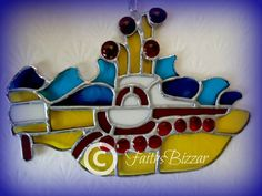 Stained Glass Yellow Submarine from Beatles rock band sun catcher window decal decoration