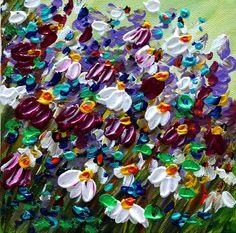 Spring Field- Handmade Modern Floral Heavy Textured Impasto Mini Painting on Canvas by artist Luiza Vizoli-www.ARtbyLuizaVizoli.com