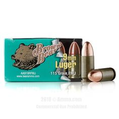 Brown Bear 9mm Ammo - 500 Rounds of 115 Grain FMJ Ammunition #9mm #9mmAmmo #BrownBear #BrownBearAmmo #BrownBear9mm #FMJ