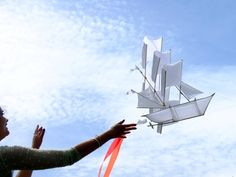A few of these kites grouped together would make a great hanging or chandelier alternative. Haptic Lab ship kite