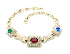 Mogul Color Rhinestone Necklace Jewel Tone Color by Vintageimagine