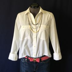"""Madewell """"Washed Cotton Boyshirt"""" in White Love this!  It's the Perfect white button down! """"Broken-in and perfectly crumpled, this shirt only gets better the more you wear it. A slightly frosted effect (achieved with a special wash technique) makes it extra covetable."""" -Madewell site. You can wear this with anything in a ton of different ways and you will look fantastic! Size Small, TTS. Bust measured flat across is 18 inches, back of neck to hem is 26.5 inches. It has a long and lean…"""