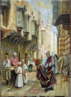 Hawkers selling their goods in a residential neighborhood .. looks like Cairo early to mid 1800s.