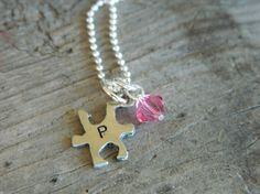 Self birthday present!! This is a must have :-)Autisum Awareness Handstamped Initial Lead Safe Pewter Puzzle by theknottedchain, $28.00