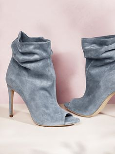 Peep toe ankle boots in soft grey from the Burberry shoe collection for S/S14