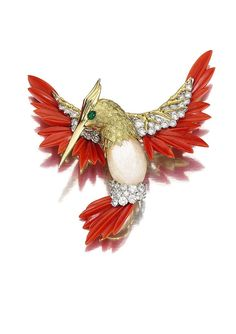 Hummingbird by Kutchinsky, circa 1975 Carved coral, gold, diamonds ...