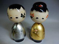 """Pair JAPANESE Sosaku Kokeshi Gold Silver Glossy Lacquer Wooden Dolls 14.5cm 5.7"""""""