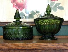 Pair Indiana Glass colored olive green by MargueritesWoodShed Oh that color!