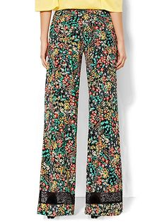 Palazzo Pant - Lace Trim - Floral  - New York & Company