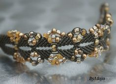 Brown and yellow.Beaded Bracelet