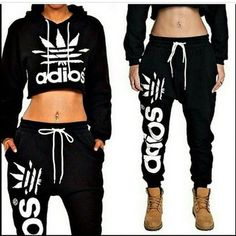 sweater cropped hoodie hoodie black crop top adidas wings style fashion swag…