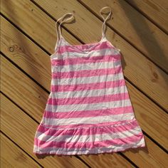 PINK VICTORIAS SECRET STRIPED RUFFLE NIGHTGOWN Cute pink and white striped nightgown. Super comfy! Size xs PINK Victoria's Secret Intimates & Sleepwear Chemises & Slips
