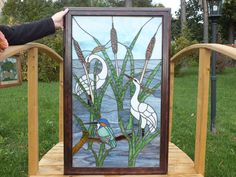 Forever Summer.  Stained Glass - Tiffany- style - Cranes and Kingfisher at the Pond.