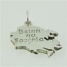 Isle of Benbecula pendant hand crafted in sterling silver engraved in gaelic Beinn Na Faoghla. Supplied with a presentation box. Design by Hebridean Jewellery 2015 20mm X 18mm 3.9g approx weight