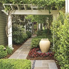 entrance from road to my front yard (awesome idea); I love the privacy combined with the curb appeal, and I love the pergola, as well as the idea of pathway!! (Plants, etc. are obviously also an included desire for this.) - Eye appealing layout