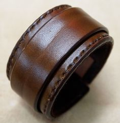 Leather cuff Bracelet Brown hand stitched suede lined custom