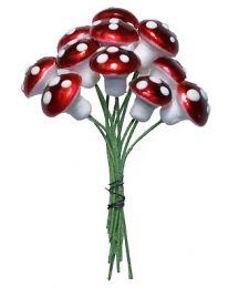 12 Medium Spun Cotton Mushrooms from Germany ~ 14mm Metallic Dark Red