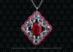 Natural Burmese Ruby pendant with rose cut diamonds by Leon Mege