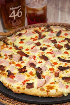 Hot Brown Pizza - mornay sauce, turkey, tomatoes, bacon, swiss and mozzarella cheese - perfect for watching the Kentucky Derby!
