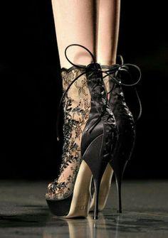 Black Lace Reverse Lace-Up Heel