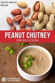 This quick groundnut chutney is a good substitute for coconut chutney. This is a healthy and delicious peanut chutney that goes very well with idli, dosa, medu vada or uttapam. A vegan chutney recipe you can make very fast and easy at home. Veg Recipes, Indian Food Recipes, Vegetarian Recipes, Snack Recipes, Cooking Recipes, Peanut Chutney, Coconut Chutney, Chutney Varieties, South Indian Food