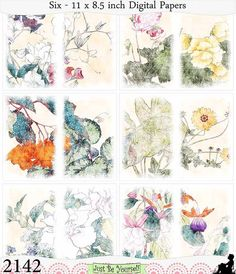 Distressed Japanese Flowers Digital Just-a-Dori by JustBYourself
