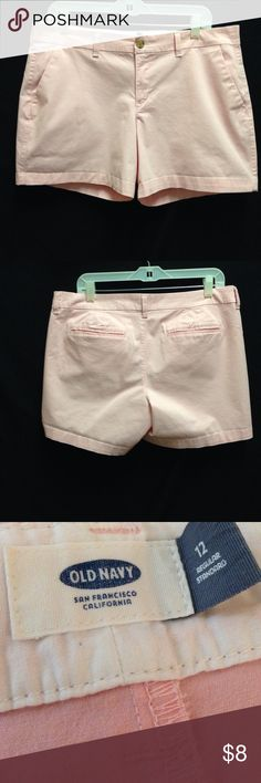 """Old Navy Baby Pink Shorts Waist 36"""" Front Rise 9.5"""" Back Rise 12.5"""" Inseam 5"""". These shorts are in good used condition. There are no rips stains or tears. The zipper can be a little catchy when zipping up but it still works. Old Navy Shorts"""