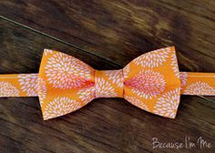 Mens Bow Tie - Wonderful Pink Mumms Bursting on an Orange Woven Cotton Background, bowtie for teen boys and men
