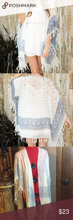 🎉HP🎉 Boho Fringe Shawl. Like new Only wore a couple of times. Like new condition. Light and airy. A gorgeous addition to your ensemble. Accessories Scarves & Wraps