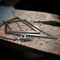 The Big Uneven pendant, sterling silver, oxidized geometric pendant Sterling Silver Name Necklace, Silver Necklaces, Silver Rings, Crystals, Pendant, Simple, Workshop, Letter, Big