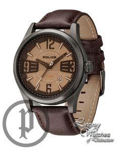 Police Men's Brown Leather Lancer Watch - 13453JSU-61  Online price: £119.00  www.lingraywatches.co.uk