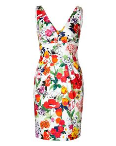 A bright painted floral print lends a retro twist to this cutout back dress from Moschino #Stylebop