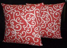 home decor coral accent color   Decorative Accent Pillow Covers - Coral and White - Two 18 Inch