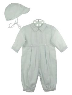 NEW Sarah Louise White Batiste Pintucked Romper and Matching Hat with Embroidery $65.00