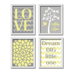 Custom Personalized Child Name Grey Yellow LOVE Dream Tree Nursery Print Artwork Set of 4 Prints Girl Wall Decor Art Picture Chevron Flower