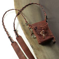 Brown Leather Pouch in shaman medicine bag style with crystals, stone and wood beads