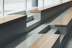 Gallery of Kindergarten, Sports Hall and Music School / Schenker Salvi Weber Architekten - 3 Contemporary Architecture, Architecture Details, Wood Cafe, School Hall, Music School, Interior Stairs, School Architecture, Staircase Design, Building Design