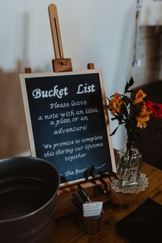 Guest Book Bucket List Sign Signs Signage Arches Dean Clough Wedding Stevie Jay Photography #GuestBook #BucketList #Wedding