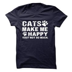 Cats make me happy T-Shirts, Hoodies. SHOPPING NOW ==► https://www.sunfrog.com/No-Category/Cats-make-me-happy--8725075-Guys.html?id=41382