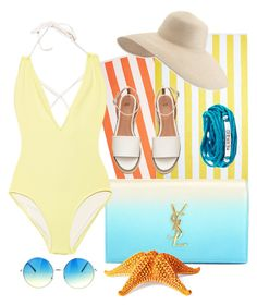 """""""Mermaid Swim Look"""" by autumnmagic ❤ liked on Polyvore featuring Yves Saint Laurent, Solid & Striped, Philmore, Eric Javits, Blooming Lotus Jewelry and onepieceswimsuit"""