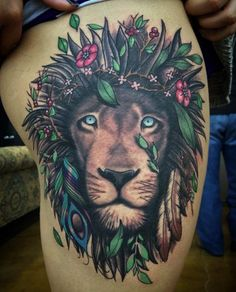Naturalistic lion tattoo by Eric Ryan