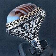925 Sterling Silver banded Agate Aqeeq Turkish Handmade Mens Ring size 11.5 #Handmade #Solitaire