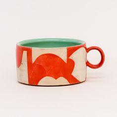 Colorful Shape Mugs by Sarah Steininger Leroux Ceramics Pottery Mugs, Ceramic Tableware, Ceramic Clay, Hand Painted Ceramics, Ceramic Painting, Ceramic Pottery, Pottery Art, Ceramic Mug With Lid, Clay Mugs