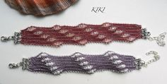 Romantic herringbone beaded bracelet with diagonal pattern $24