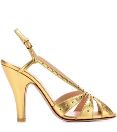 GABRIELLE'S AMAZING FANTASY CLOSET | Golden crystal-embellished metallic leather sandals