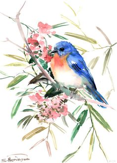 BlueBird original watercolor painting 15 X11 in by ORIGINALONLY, $46.00