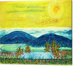 Peace Canvas Print featuring the painting Peace At Day's End by Karen Nice-Webb Thing 1, Summer Sunset, Stretched Canvas Prints, All Art, Galleries, Fine Art America, Nature Photography, Original Art, Canvas Art