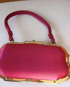 Vintage Designer Jana for Bergdorf Goodman Red Satin Bag in Gold Frame Hard Shell Enclosure 1950s. $165.00, via Etsy.